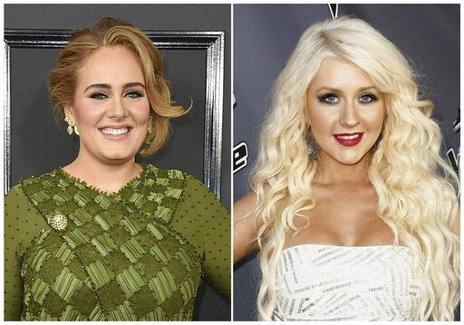 "This combination photo shows singer Adele at the 59th annual Grammy Awards in Los Angeles on Feb. 12, 2017, left, and singer Christina Aguilera after the finale of ""The Voice"" in Burbank, Calif., on June 29, 2011. Adele's ""25� album was a masterpiece that sold 10 million albums in a year when most artists have trouble selling one million. Linda Perry worked on a bonus track, ""Can't Let Go,� for the album's Target edition. Aguilera's ""Beautiful� became a worldwide anthem for acceptance when the song, and its epic video, was released in 2002.  Perry, who wrote and produced the track, said she still smiles when she hears the song or if someone brings it up."