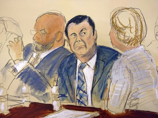 "FILE - In Nov. 13, 2018 file courtroom drawing, Joaquin ""El Chapo"" Guzman, center, sits next to his defense attorney Eduardo Balarezo, left, for opening statements as Guzman's high-security trial gets underway in the Brooklyn borough of New York. Guzman is due in court Wednesday, Jan. 30, 2019, for the prosecution's summation at a trial that began late in 2018, after Guzman was brought to the U.S. to face drug-trafficking charges. (Elizabeth Williams via AP)"