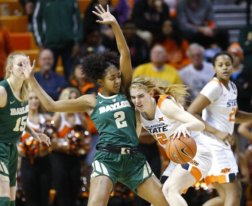 Oklahoma State forward Vivian Gray (12) drives against Baylor guard Didi Richards (2) in the first half of an NCAA college basketball game in Stillwater, Okla., Wednesday, Jan. 30, 2019.