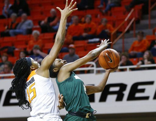 Baylor guard Didi Richards, right, goes to the basket in front of Oklahoma State center Mariam Gnanou (15) in the first half of an NCAA college basketball game in Stillwater, Okla., Wednesday, Jan. 30, 2019.