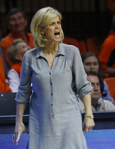 Baylor coach Kim Mulkey shouts during the second half of the team's NCAA college basketball game against Oklahoma State in Stillwater, Okla., Wednesday, Jan. 30, 2019.