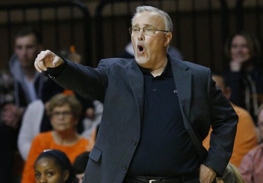 Oklahoma State coach Jim Littell gestures during the second half of an NCAA college basketball game against Baylor in Stillwater, Okla., Wednesday, Jan. 30, 2019.