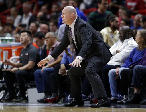 Chicago Bulls head coach Jim Boylen watches during the first half of an NBA basketball game against the Miami Heat, Wednesday, Jan. 30, 2019, in Miami.