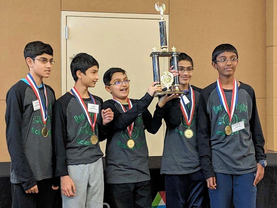 The Daniel Wright Junior High School Academic Science Bowl team, from left: Deepak Salian, Dev Ganguli, Akshansh Chauhan, Rishabh Wuppalapati and Vedant Rathi.