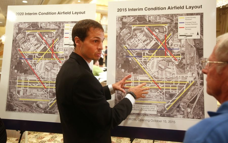 The white boards are prepared and so are the experts with four forums on an overnight runway rotation plan at O'Hare International Airport set for next week. Similar forums on O'Hare modernization as shown occurred in 2015.
