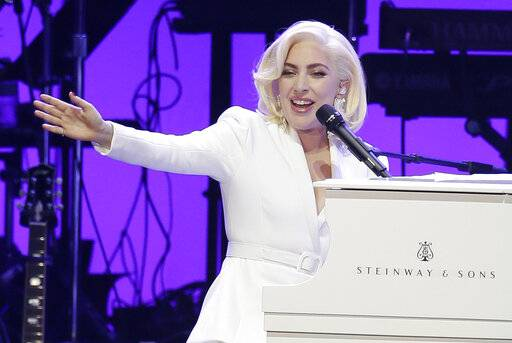 FILE--In this Oct. 21, 2017, file photo, Lady Gaga performs during a hurricanes relief concert in College Station, Texas. The Recording Academy's Task Force on Diversity and Inclusion is a launching a new initiative announced Friday, Feb. 1, 2019, to create and expand more opportunities to female music producers and engineers. More than 200 musicians, labels and others have already pledged, including Lady Gaga, Justin Bieber, Pearl Jam, Pharrell and Ariana Grande.