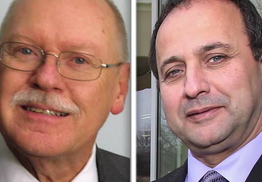 Former Wood Dale Mayor Ken Johnson, left, and current Mayor Nunzio Pulice are competing in the April 2 election.