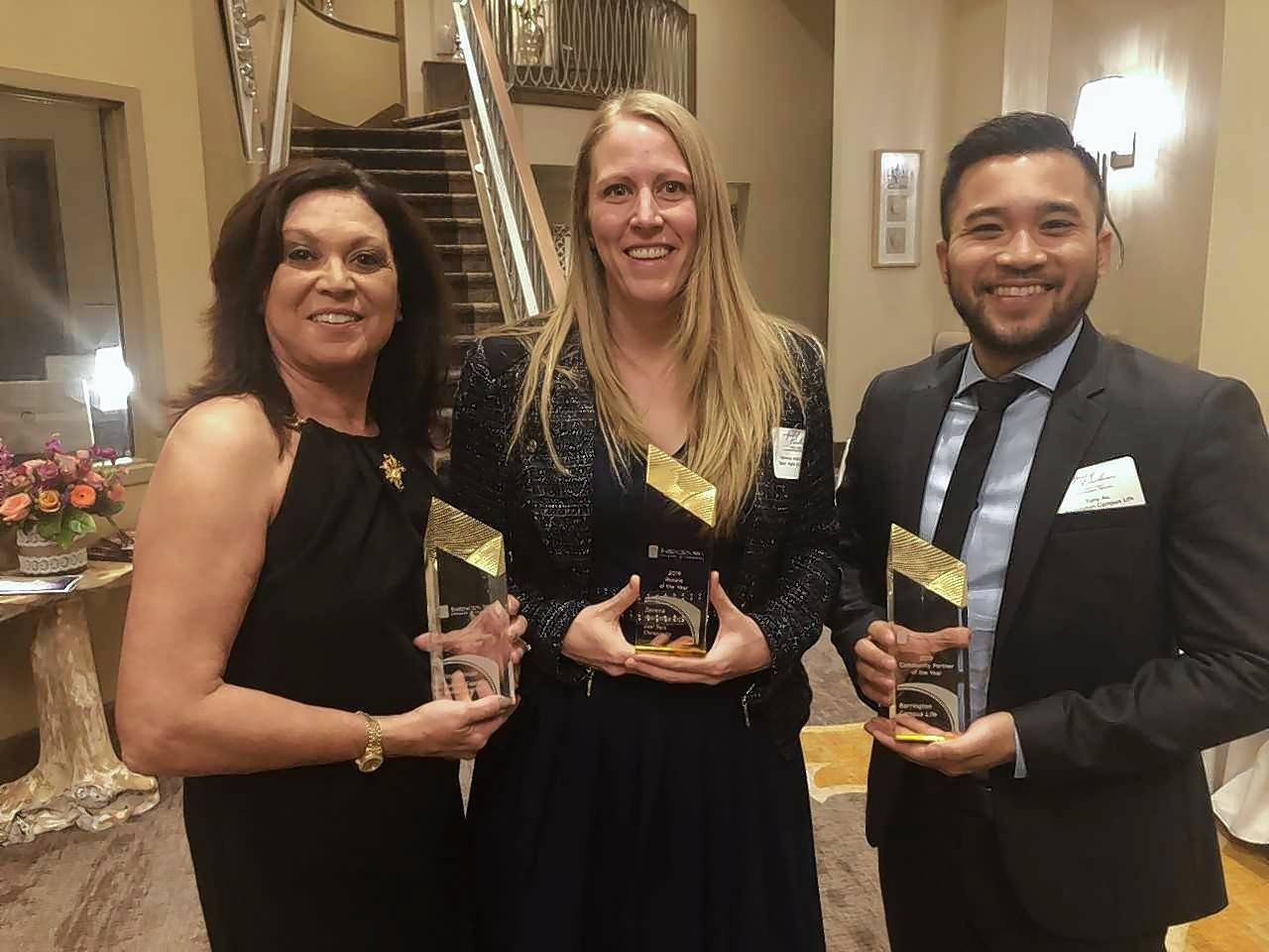 The Barrington Area Chamber of Commerce announced its 2019 Business Award recipients at its annual Dinner & Scholarship Fundraiser on Jan. 17. Pictured, from left, are: Volunteer of the Year Ilona House (Hoffman Estates Animal Hospital/Boisset Collection); Rookie of the Year Serena Kleinstub DC (Deer Park Chiropractic); and Community Partner of the Year Tony Au (Barrington Campus Life Center). Not pictured: New Business of the Year Nick Burbulis (101 W. Liberty).