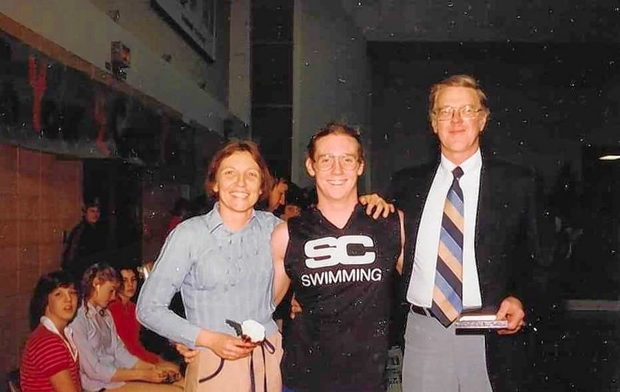 Aaron Gabriel, center, is pictured with his parents, dad Jerry and mom Beth, at his St. Charles High School swimming Senior Night in 1983. Gabriel, the former high school sports editor for the Daily Herald, will receive the Jodie Harrison Lifetime Achievement Award this Friday at St. Charles East.