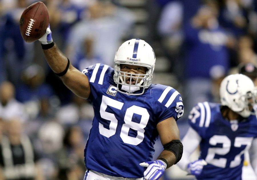Former Indianapolis Colts linebacker Gary Brackett, shown here in his playing days, is eyeing Elk Grove Village for a possible expansion of his sports bar chain, Stacked Pickle. He said he learned of the village while watching the Makers Wanted Bahamas Bowl.