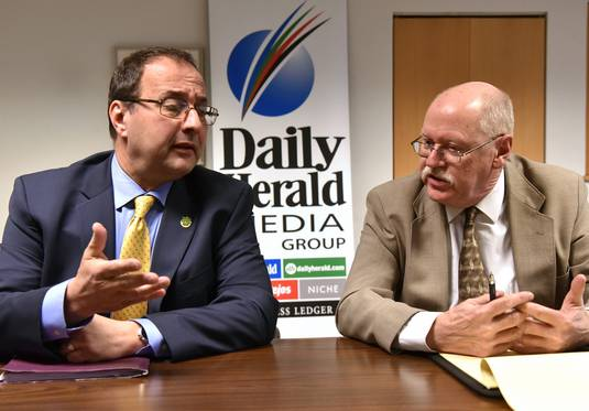 "Wood Dale Mayor Annunziato ""Nunzio"" Pulice, left, and his opponent in the April election, Kenneth P. Johnson, during their endorsement interview with the Daily Herald."