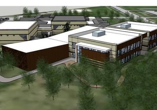 Rendering of an 18-classroom kindergarten center to be built by Hawthorn Elementary District 73 and connected to the Sullivan Community Center in Vernon Hills.