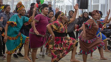 Each year, the Afrikan Dance & Music Institute returns to teach through artistic expression during the College of DuPage's Black History Month opening celebration Feb. 4.