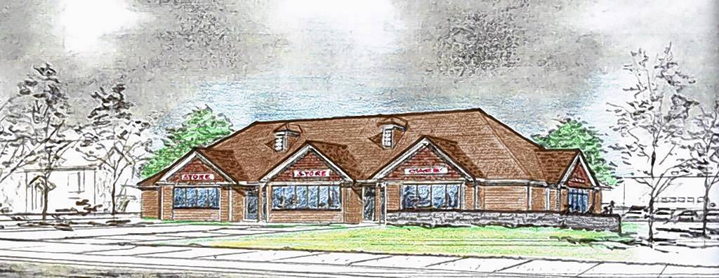 An artist's rendering of a strip center that's planned for 343/345 W. Main St. in Barrington. A cafe would be part of the plaza near Barrington High School.
