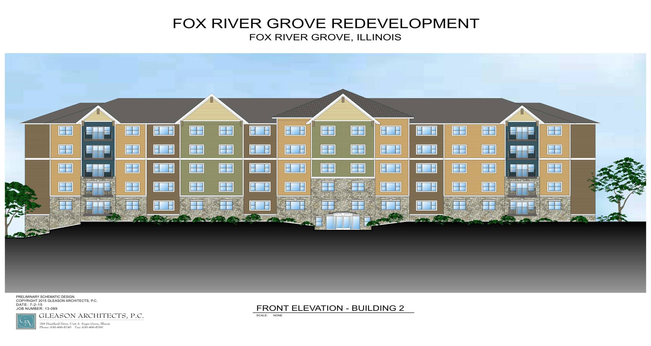 A rendering of a multifamily residential apartment building proposed as part of a Fox River Grove's downtown redevelopment plan. The 20-acre redevelopment project has stalled due to financing problems.
