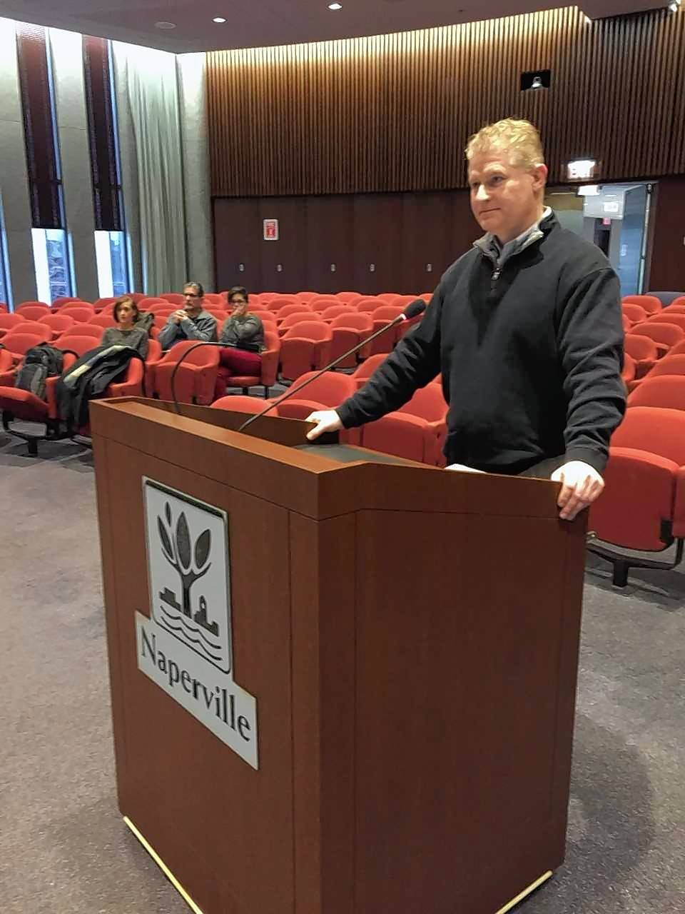 Chip VonLehman, potential franchiser of a Cincinnati-based ice cream called Buzzed Bull Creamery that offers booze-infused options, reacts Thursday as the Naperville liquor commission shows an early willingness to create a new liquor license to allow his concept to be legal.