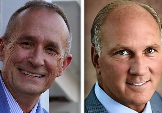 "Naperville mayoral candidates Richard ""Rocky"" Caylor, left, and incumbent Steve Chirico."