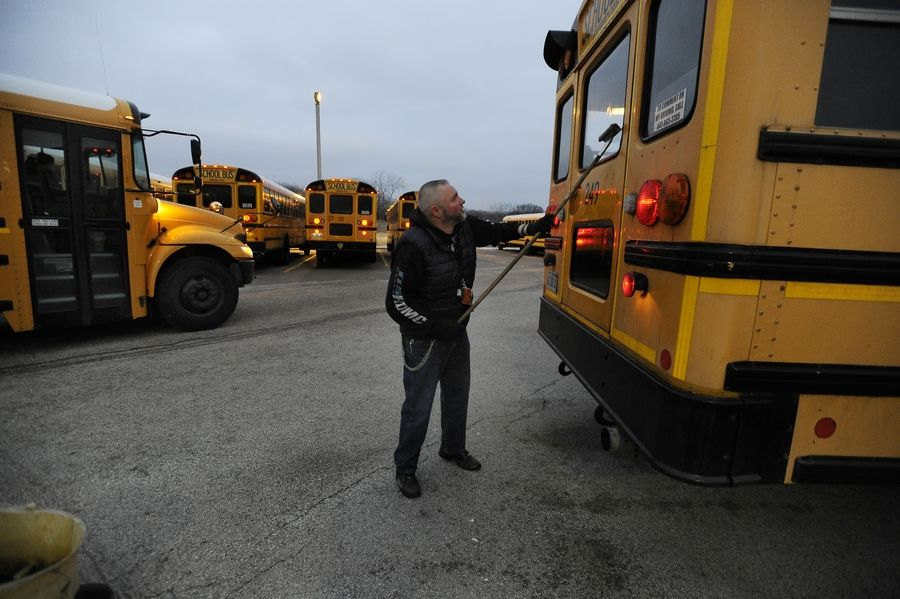 "Matthew Horn of Arlington Heights has been a school bus driver for four months and loves the job. ""It's all about the kids,"" said Horn, a driver for Palatine Township Elementary District 15. School districts say they need more drivers like Horn to combat a national shortage."