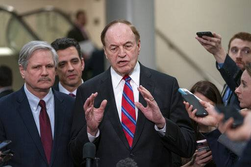 From left, Sen. John Hoeven, R-N.D., Rep. Tom Graves, R-Ga., and Sen. Richard Shelby, R-Ala., the top Republican on the bipartisan group bargainers working to craft a border security compromise in hope of avoiding another government shutdown, speak with reporters after a briefing with officials about the US-Mexico border, on Capitol Hill in Washington, Wednesday, Feb. 6, 2019. Shelby is chairman of the Senate Appropriations Committee.