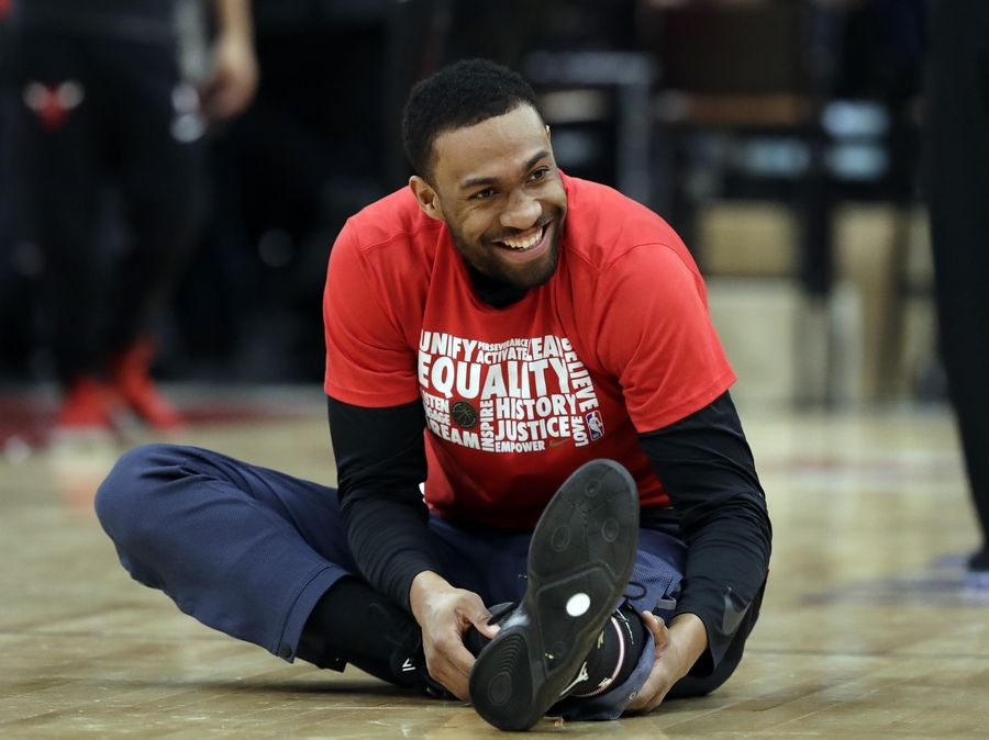 Washington Wizards forward Jabari Parker smiles as he stretches before an NBA basketball game against the Chicago Bulls, Saturday, Feb. 9, 2019, in Chicago.