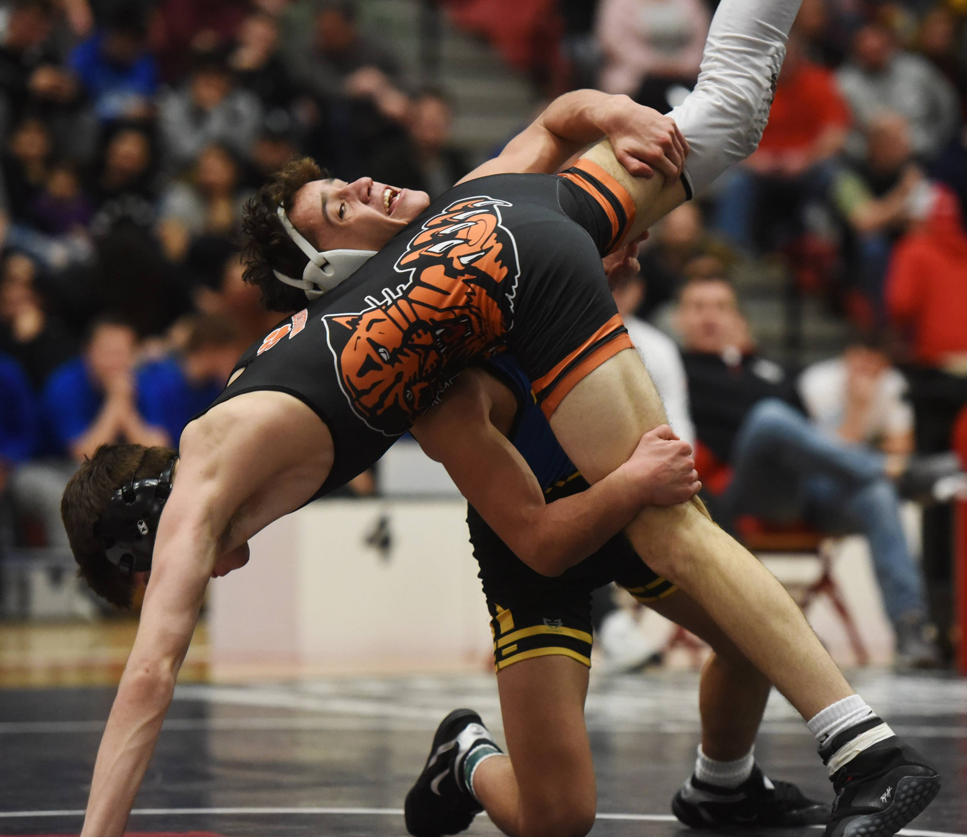 Warren's Cameron Domke, top, wrestles Libertyville's Peter Kafkis in the 120-pound final of the Barrington wrestling sectional Saturday.