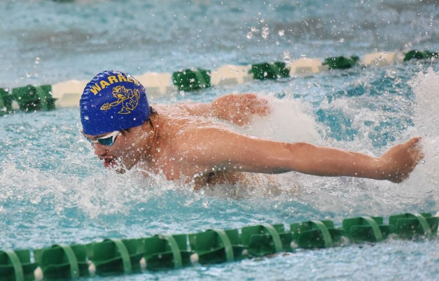 Warren's Austin Edmondson swims the butterfly segment of the team's 200-yard medley relay event during the NSC swim meet Saturday at Stevenson High School in Lincolnshire.