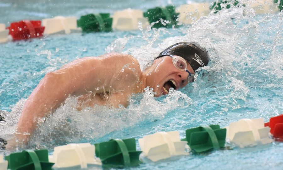 Stevenson's Ethan Ross swims the 200-yard freestyle event during the NSC swim meet Saturday at Stevenson High School in Lincolnshire.