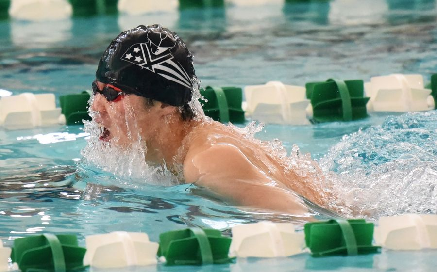 Stevenson's Jack Zhang competes in the 200-yard IM during the NSC swim meet Saturday at Stevenson High School in Lincolnshire.