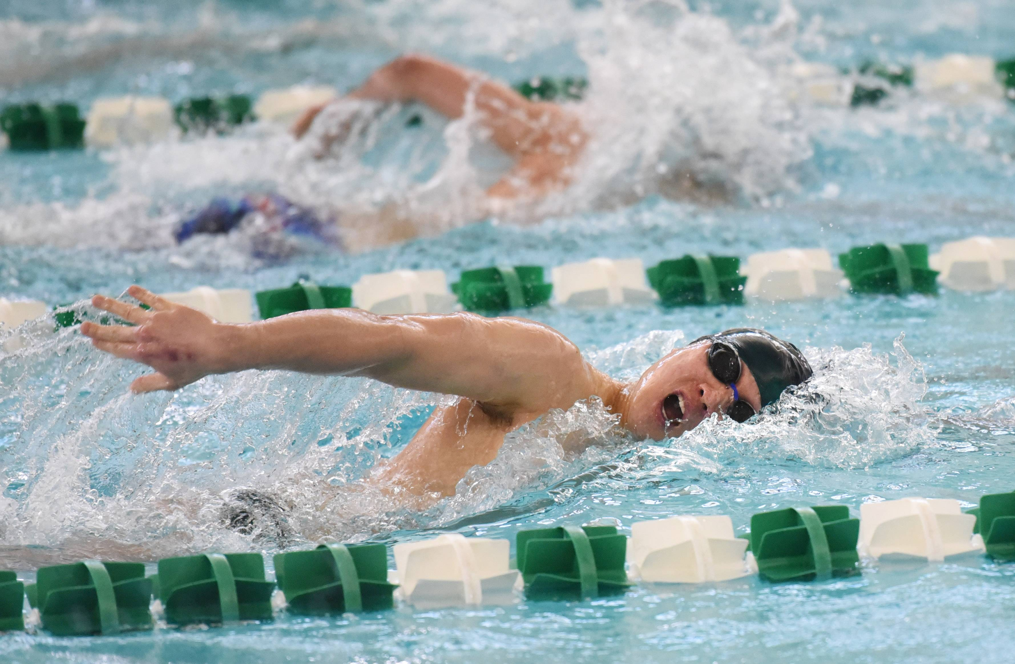 Stevenson's Joseph Song competes in the 200-yard IM during the NSC swim meet Saturday at Stevenson High School in Lincolnshire.