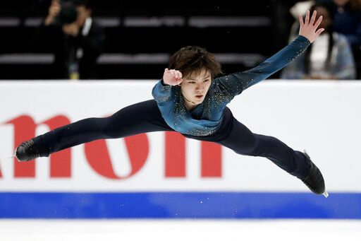 Shoma Uno, of Japan, performs during the men's free skate competition at the Four Continents Figure Skating Championships on Saturday, Feb. 9, 2019, in Anaheim, Calif.
