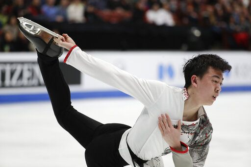 Vincent Zhou, of the United States, performs during the men's free skate competition at the Four Continents Figure Skating Championships on Saturday, Feb. 9, 2019, in Anaheim, Calif.