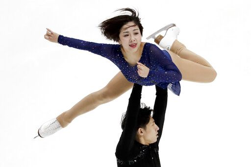 Wenjing Sui and Han Cong, of China, perform during the pairs free skate competition at the Four Continents Figure Skating Championships on Saturday, Feb. 9, 2019, in Anaheim, Calif.