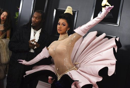 Offset, left, and Cardi B arrive at the 61st annual Grammy Awards at the Staples Center on Sunday, Feb. 10, in Los Angeles.