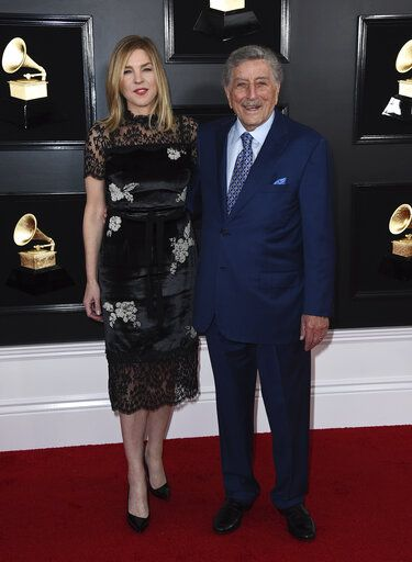 Diana Krall, left, and Tony Bennett arrive at the 61st annual Grammy Awards at the Staples Center on Sunday, Feb. 10, 2019, in Los Angeles. (Photo by Jordan Strauss/Invision/AP)