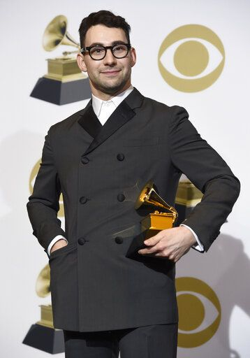 "Jack Antonoff poses in the press room with the award for best rock song for ""Masseducation"" at the 61st annual Grammy Awards at the Staples Center on Sunday, Feb. 10, 2019, in Los Angeles. (Photo by Chris Pizzello/Invision/AP)"