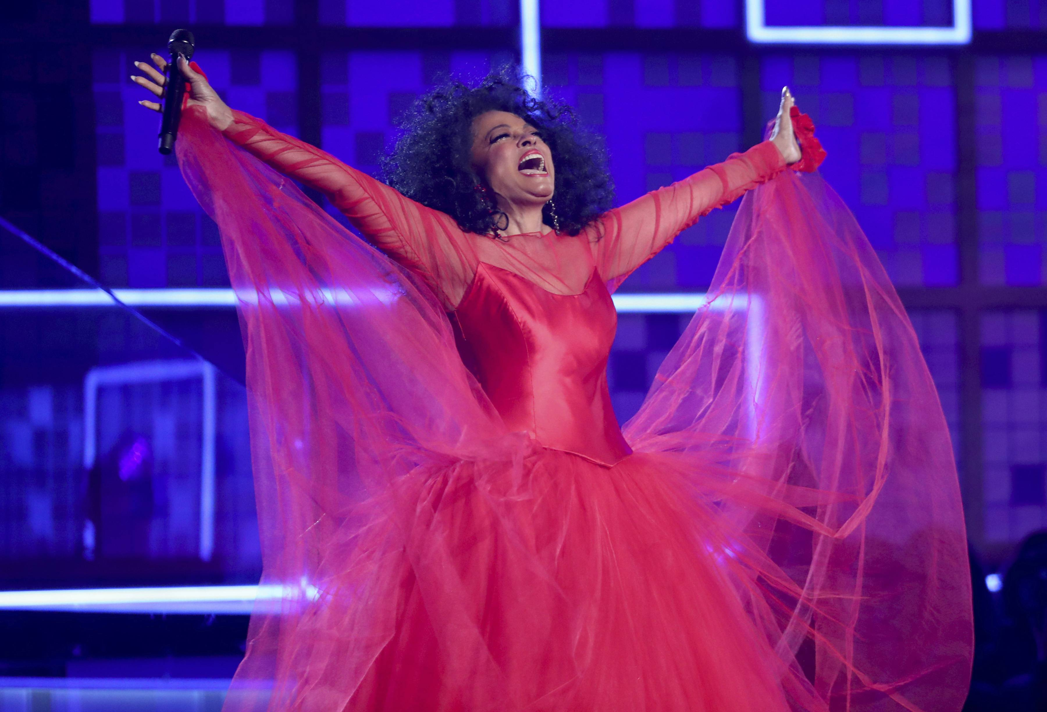 Diana Ross performs a medley at the 61st annual Grammy Awards on Sunday, Feb. 10, 2019, in Los Angeles.