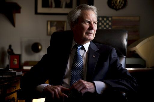 FILE - In this Wednesday, Oct. 25, 2017, file photo, U.S. Rep. Walter Jones Jr., R-N.C. poses for a portrait in his office on Capitol Hill, in Washington. Jones, a once-fervent supporter of the 2003 invasion of Iraq who later became an equally outspoken Republican critic of the war, died Sunday, Feb. 10, 2019, his 76th birthday.