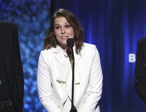 "Brandi Carlile accepts the award for best American roots performance for ""The Joke"" at the 61st annual Grammy Awards on Sunday, Feb. 10, 2019, in Los Angeles. (Photo by Matt Sayles/Invision/AP)"