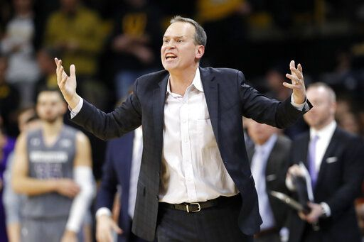 Northwestern head coach Chris Collins reacts to a call during the second half of an NCAA college basketball game against Iowa, Sunday, Feb. 10, 2019, in Iowa City, Iowa. Iowa won 80-79.