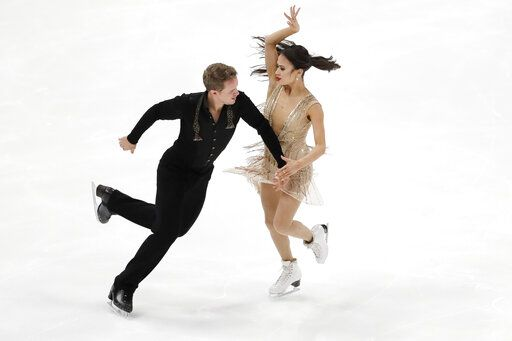 Madison Chock and Evan Bates, of the United States, perform during the ice dance free dance competition at the Four Continents Figure Skating Championships on Sunday, Feb. 10, 2019, in Anaheim, Calif.