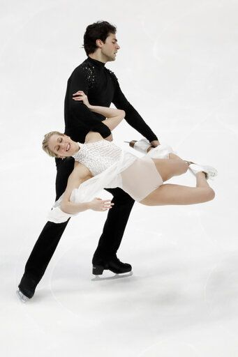 Kaitlyn Weaver and Andrew Poje, of Canada, perform during the ice dance free dance competition at the Four Continents Figure Skating Championships on Sunday, Feb. 10, 2019, in Anaheim, Calif.
