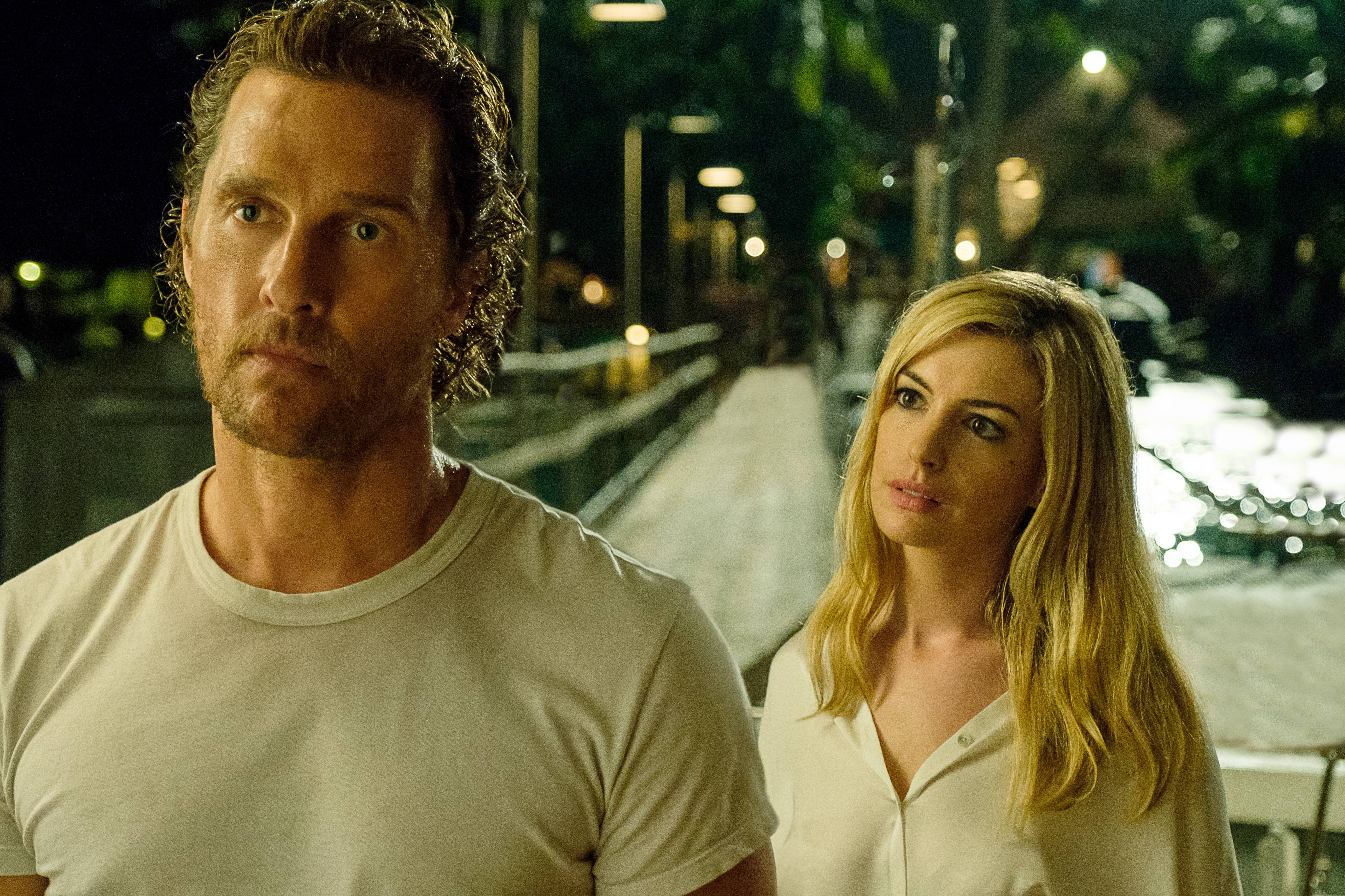 "Matthew McConaughey and Anne Hathaway star in ""Serenity."""