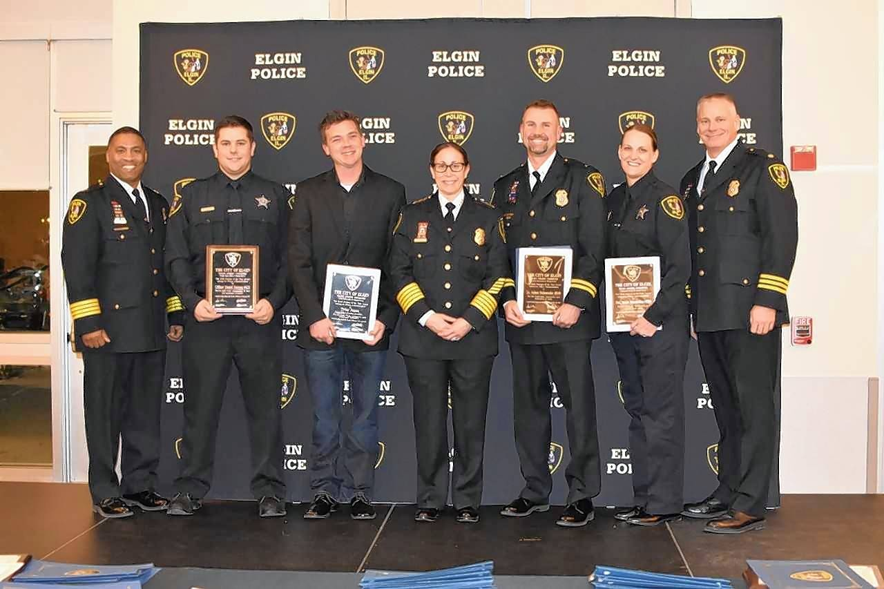 The Elgin Police Department gave awards to its best employees of the year at a ceremony last week at the Centre of Elgin. Pictured here, from left, are Deputy Chief Al Young, officer Dan Raiman, public systems safety specialist Tyler Jones, Chief Ana Lalley, Lt. Adam Schuessler, Detective Jamie Marabillas and Cmdr. Colin Fleury.