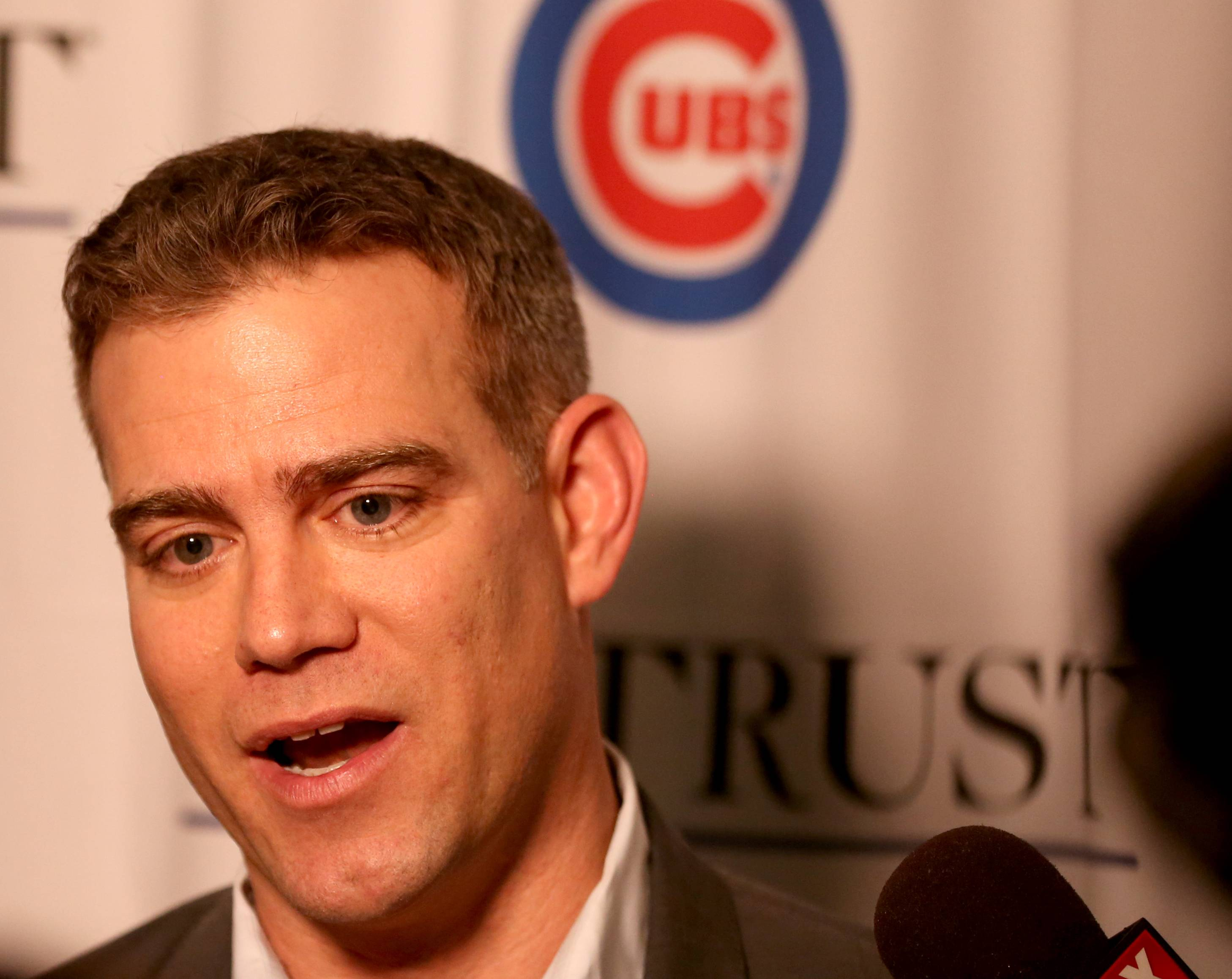Theo Epstein speaks during opening night of last month's Cubs Convention at the Sheraton Grand in Chicago.