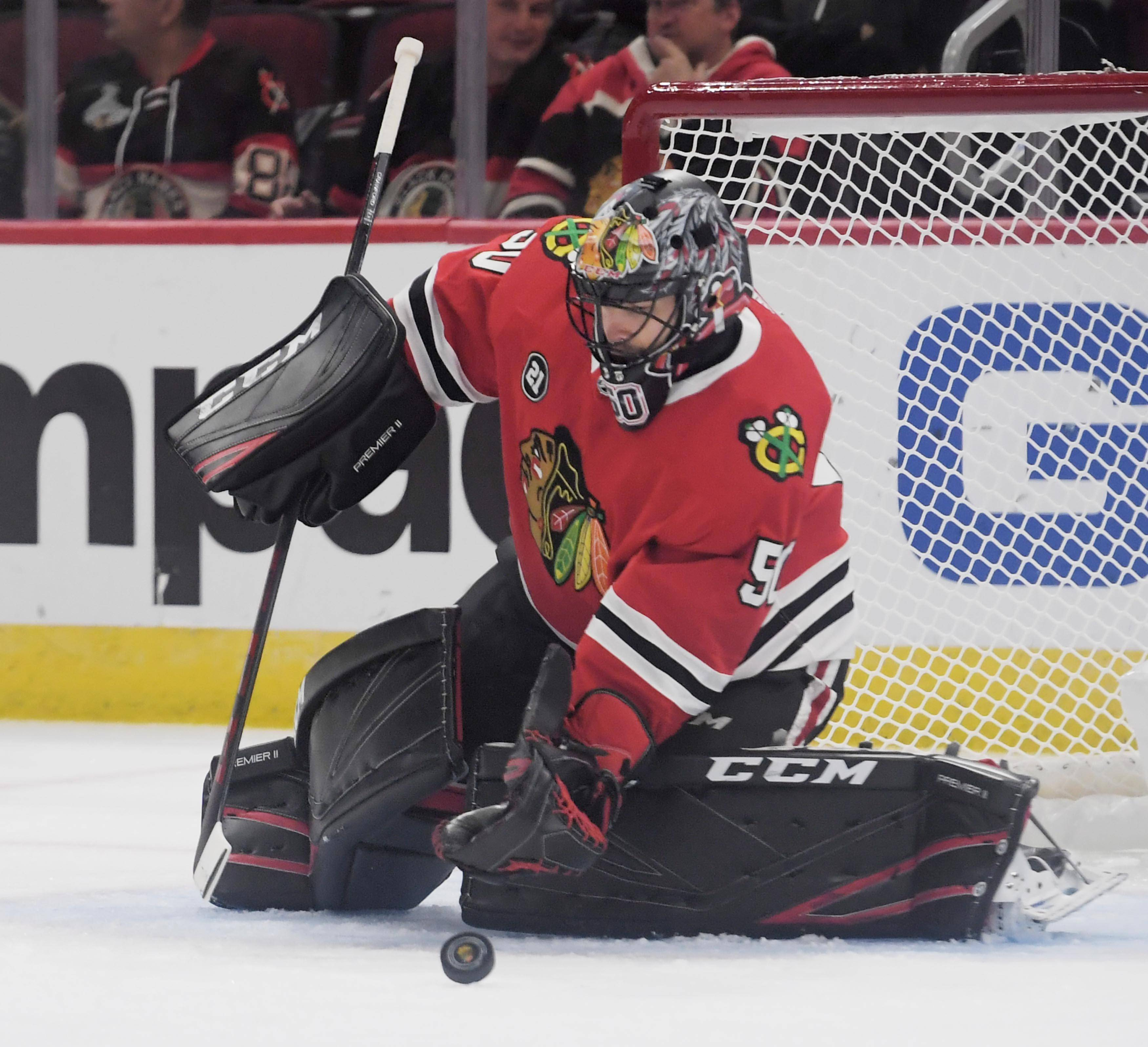 Blackhawks goaltender Corey Crawford practiced Monday and then did extra work in his first complete practice since suffering a concussion nearly two months ago. His return to game action has not been determined.