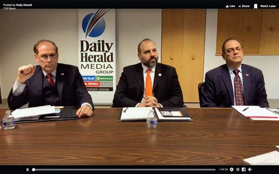Tom Dailly, Matthew Steward and Nafees Rahman, candidates for Schaumburg village president, participate in an endorsement interview with the Daily Herald, seen on Facebook Live.