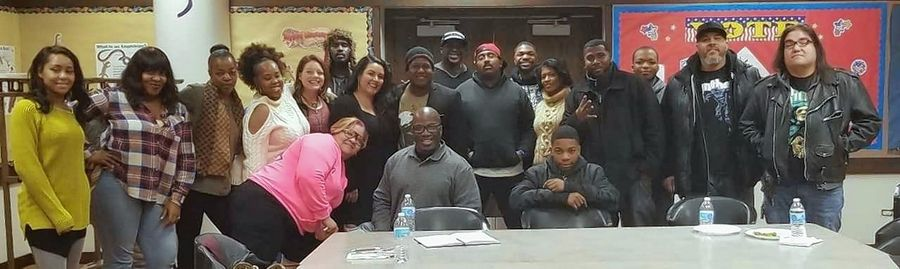 "The cast of Schaumburg's Black History Month play, ""Adult*ish,"" which will be performed Feb. 23, at the Al Larson Prairie Center for the Arts, gathers for a recent rehearsal."
