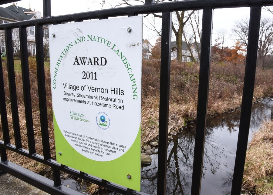 The village of Vernon Hills received an award for restoration along the Seavey Ditch along Hazeltime Road.