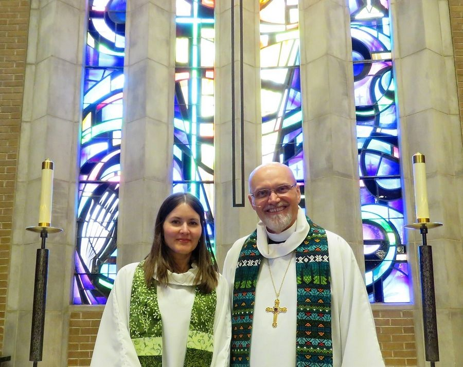 Pastor Shelly Satran, left, shown with Bishop Wayne Miller, is installed as senior pastor of Faith Lutheran Church in Glen Ellyn on Sunday, Jan. 27.
