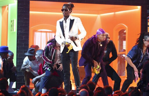"Young Thug performs ""Havana"" at the 61st annual Grammy Awards on Sunday, Feb. 10, 2019, in Los Angeles. (Photo by Matt Sayles/Invision/AP)"